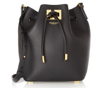 Miranda Small Leather Bucket Bag Schwarz