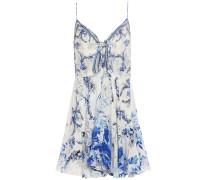 Knotted Crystal-embellished Printed Silk Crepe De Chine Mini Slip Dress
