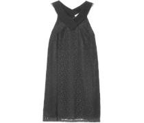 Crepe-trimmed Lace Mini Dress Schwarz