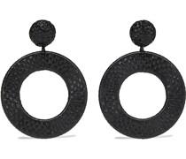 Woven Faux Raffia Clip Earrings