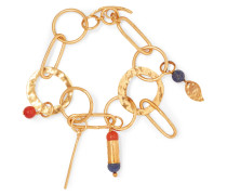 Hammered Gold-tone And Glass Bracelet