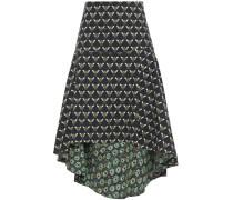 Woman Asymmetric Printed Cotton-blend Skirt Navy