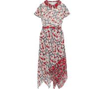 Asymmetric Laye Printed Georgette Midi Dress