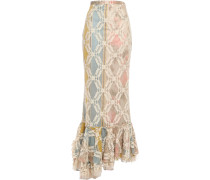 Asymmetric Fluted Corded Lace Maxi Skirt