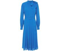 Alice Belted Pleated Crepe Midi Dress