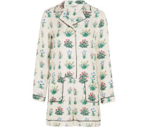 Floral-print Silk-twill Playsuit Mehrfarbig