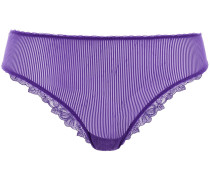 Lace-trimmed Stretch-tulle Mid-rise Briefs