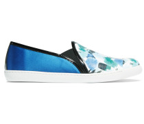 Metallic Printed Leather And Satin Sneakers Blau