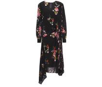Asymmetric Floral-print Crepe De Chine Midi Dress