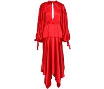 Asymmetric Cutout Satin Peplum Midi Dress
