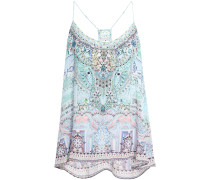 Woman Lovers Retreat Crystal-embellished Printed Silk Crepe De Chine Camisole Sky Blue