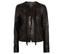Embroidered fringed leather jacket