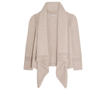 Draped Open-knit Cotton Cardigan Taupe
