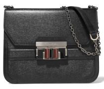 Textured-leather Shoulder Bag Schwarz