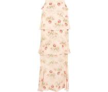 Jasmine tiered printed silk-georgette maxi skirt