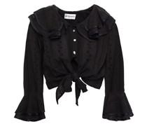 Ally Cropped Bluse aus Baumwolle mit Lochstickerei und Bindedetail Vorne