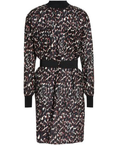 Belted Leopard-print Cotton-voile Dress Black