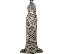Elijah Metallic Fil Coupé Chiffon Gown