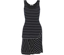 Fluted Striped Ribbed Cotton-jersey Dress