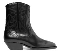 Embroidered Leather Ankle Boots Schwarz