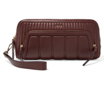 Quilted Leather Clutch Burgunder