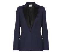 Adelaide satin-trimmed crepe blazer