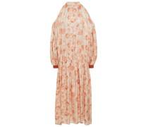 Cold-shoulder Floral-print Hammered-satin Midi Dress
