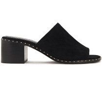 Woman Studded Suede Mules Black