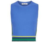 Cropped Striped Stretch-knit Top