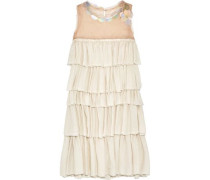 Embellished tiered organza and washed-satin dress