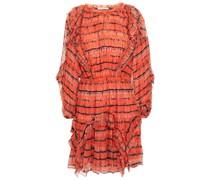 Minikleid aus Seidenkrepon mit Batikmuster und Rüschen
