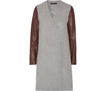 Quennel Leather-paneled Felted Wool-blend Coat Grau