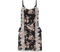 Lace-paneled Printed Silk Crepe De Chine Mini Dress Mehrfarbig