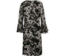 Pleated floral-print chiffon dress