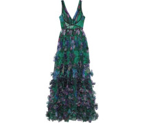 Velvet-trimmed Appliquéd Floral-print Organza Gown Emerald