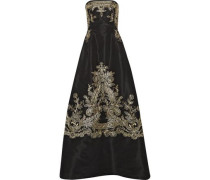 Embroidered silk-faille strapless gown