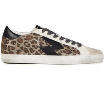 Sneakers aus Veloursleder und Metallic-leder mit Leopardenprint