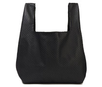 Layered Mesh And Leather Tote