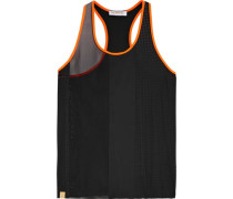 Neon-trimmed panelled mesh and stretch-neoprene tank