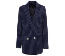 Double-breasted Pinstriped Organic Cotton-twill Blazer