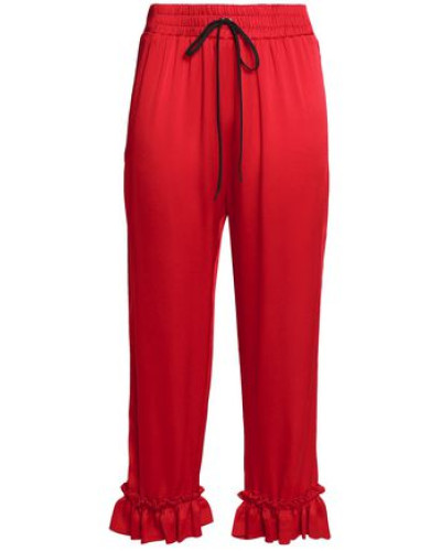 Ruffle-trimmed Satin-crepe Straight-leg Pants Red Size 12