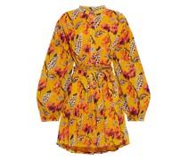 Jen Minikleid aus Seidenkrepon mit Floralem Print und Gürtel