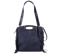 Fringed Suede Shoulder Bag Mitternachtsblau