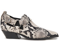 Embellished Snake-effect Leather Ankle Boots