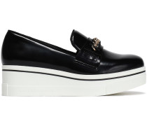 Chain-embellished Faux Patent-leather Platform Slip-on Sneakers