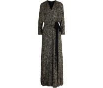 Bow-detailed Sequined Tulle Wrap Gown