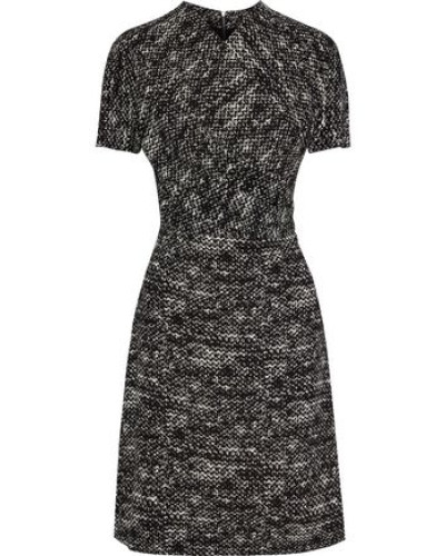 Wrap-effect Printed Stretch-crepe Dress Black