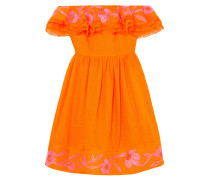 Woman Marietta Off-the-shoulder Embroidered Canvas Mini Dress Bright Orange