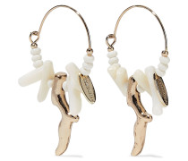 9-karat -plated Shell Hoop Earrings
