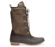 Jacskon Shearling-lined Nubuck And Rubber Boots Armeegrün